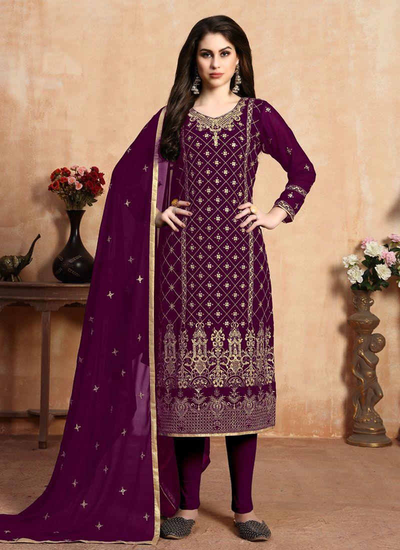 Faux Georgette Purple Pant Style Suit