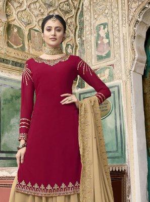 Faux Georgette Rani Designer Pakistani Suit