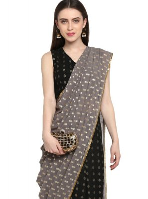 Faux Georgette Ready Pleated Saree in Black