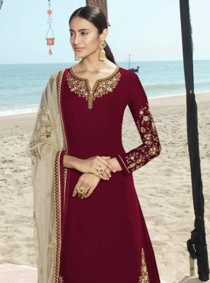 Faux Georgette Red Embroidered Salwar Suit