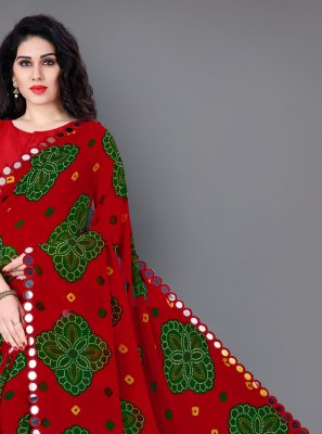 Faux Georgette Red Printed Classic Saree