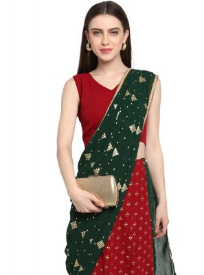 Faux Georgette Red Ready Pleated Saree