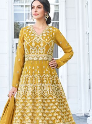 Faux Georgette Resham Mustard Floor Length Anarkali Suit
