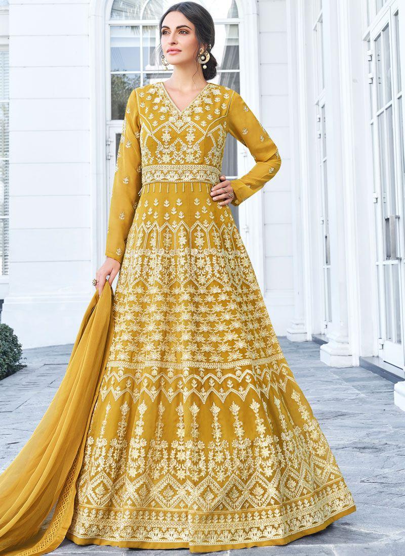 Faux Georgette Resham Mustard Floor Length Anarkali Suit
