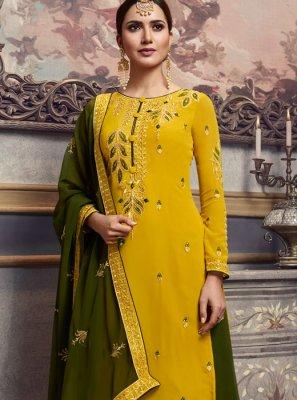 Faux Georgette Resham Trendy Palazzo Salwar Kameez in Mustard