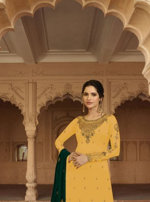 Faux Georgette Salwar Kameez in Yellow