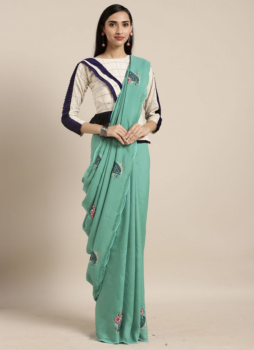 Faux Georgette Sea Green Embroidered Casual Saree