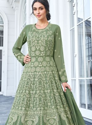 Faux Georgette Sea Green Trendy Anarkali Salwar Kameez