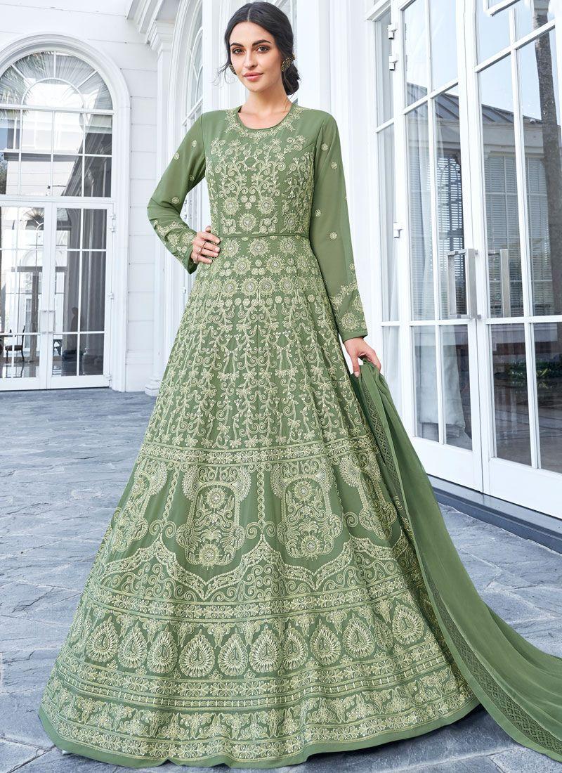 Faux Georgette Sea Green Trendy Anarkali Salwar Kameez