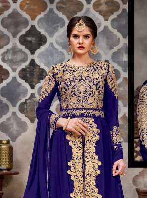 Faux Georgette Stone Navy Blue Long Length Trendy Salwar Suit