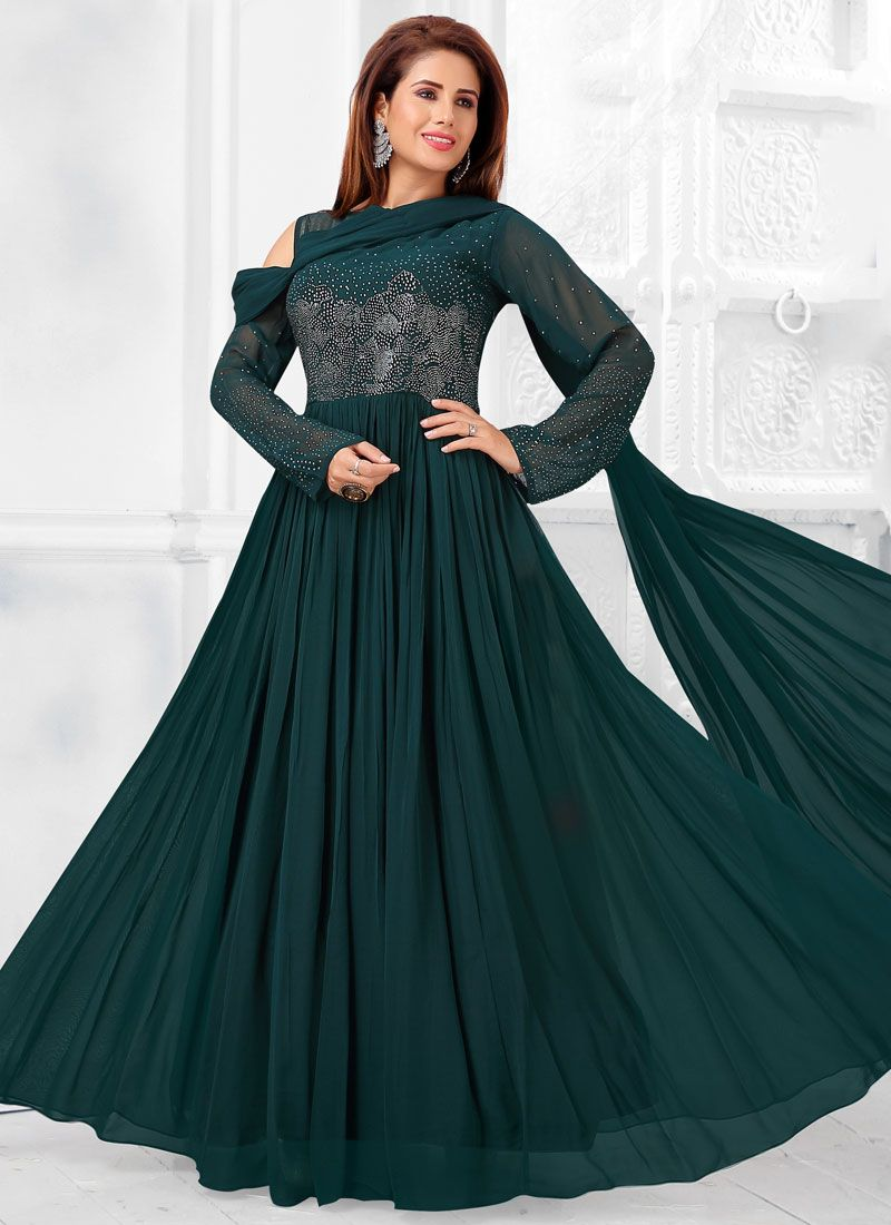 Faux Georgette Teal Fancy Readymade Suit