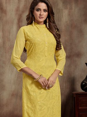 Faux Georgette Thread Yellow Casual Kurti