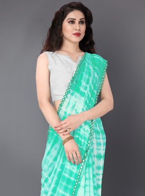 Faux Georgette Traditional Saree in Green and Off White