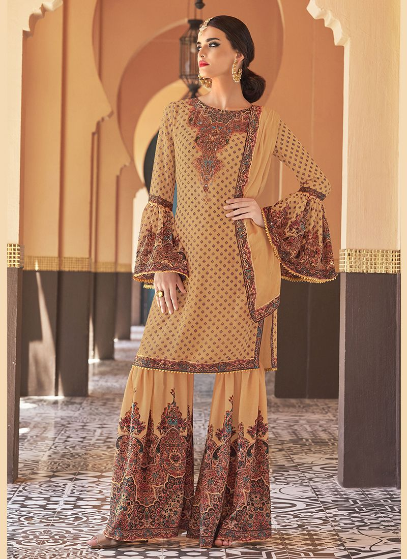 Faux Georgette Yellow Designer Palazzo Suit
