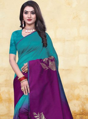 Firozi and Purple Party Half N Half Trendy Saree