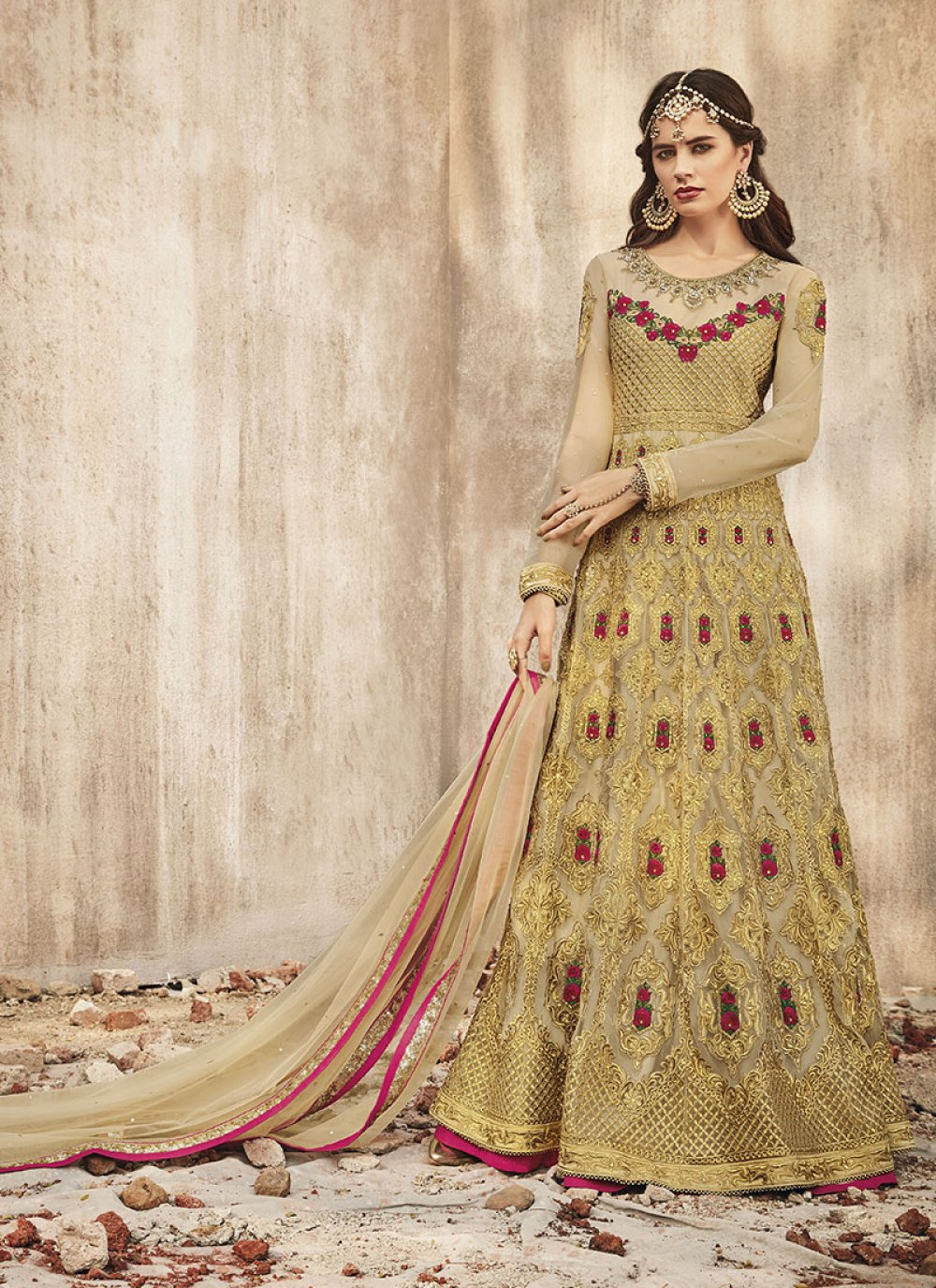 Floor Length Anarkali Salwar Suit Embroidered Net in Beige