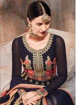 Floor Length Anarkali Salwar Suit Zari Georgette in Violet