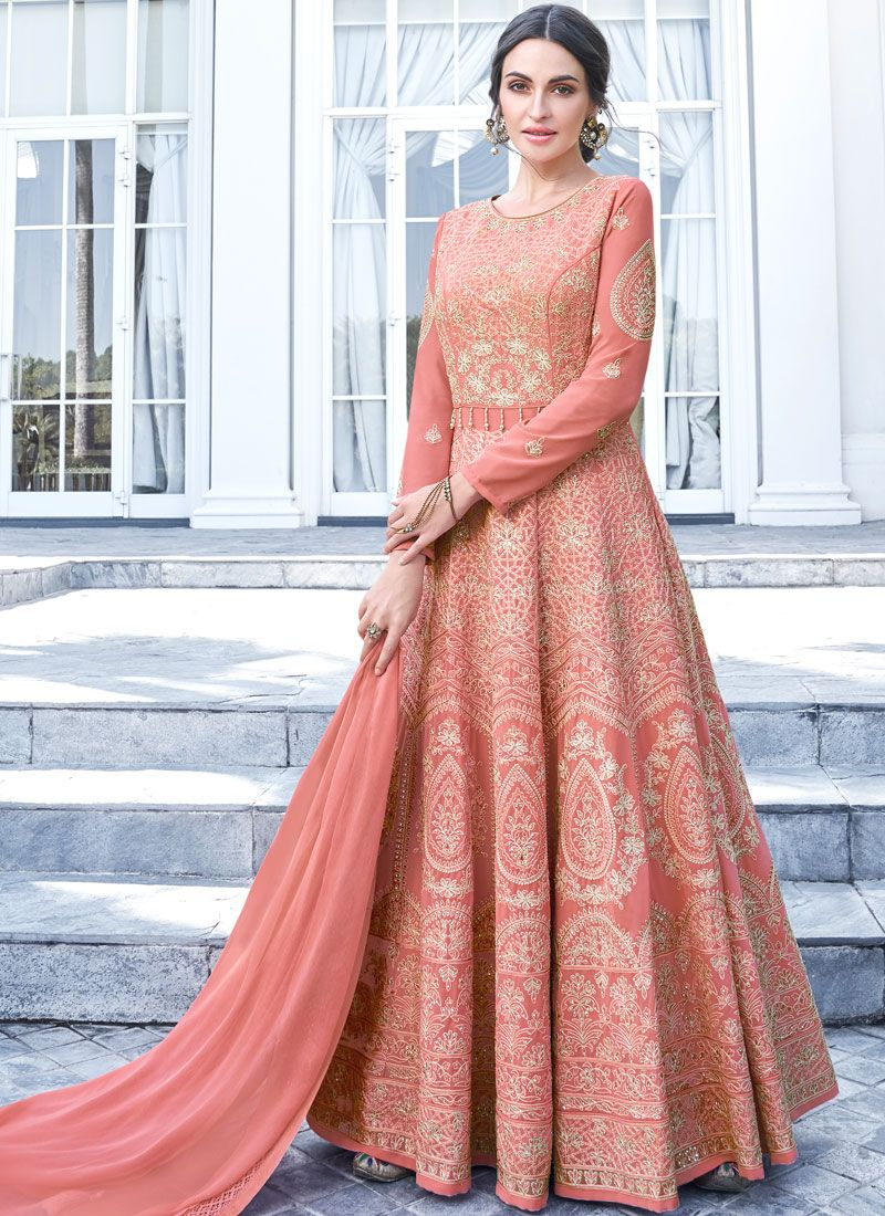 Floor Length Anarkali Suit Embroidered Faux Georgette in Peach