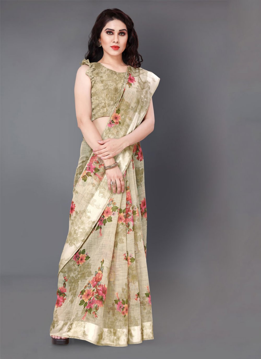 Floral Print Beige Casual Saree