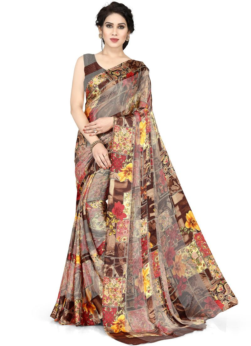 Floral Print Brasso Georgette Casual Saree