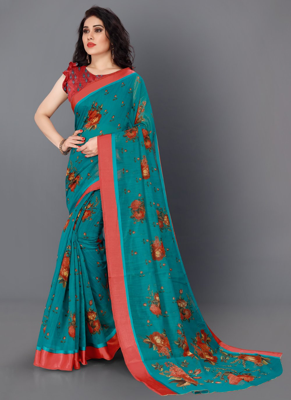 Floral Print Contemporary Saree