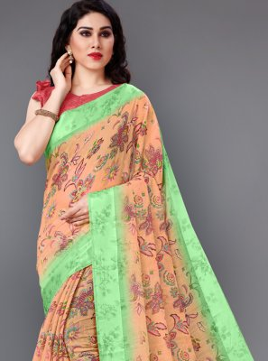 Floral Print Cotton Casual Saree