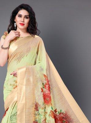 Floral Print Cotton Trendy Saree