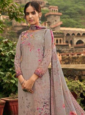 Floral Print Crepe Silk Pant Style Suit