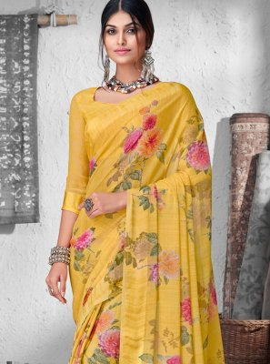 Floral Print Faux Chiffon Contemporary Saree