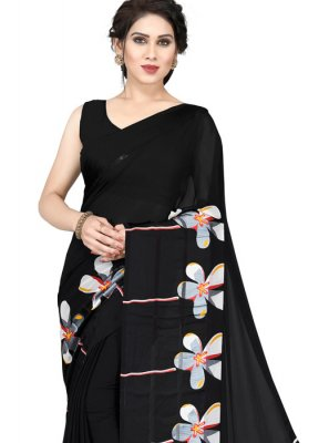 Floral Print Faux Georgette Casual Saree
