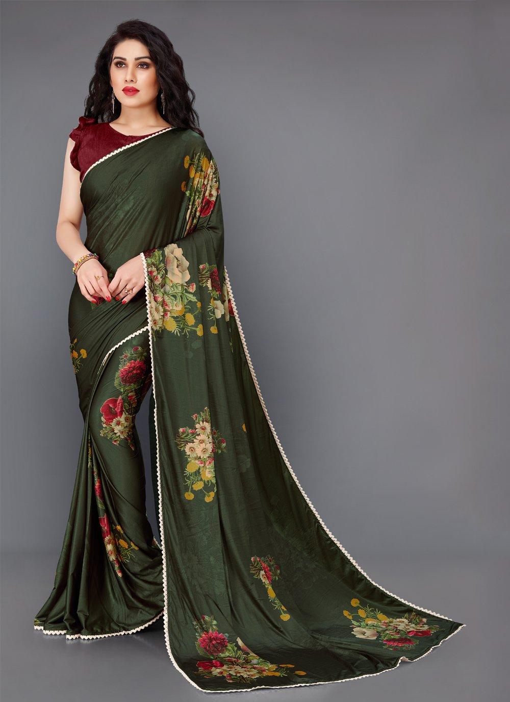 Floral Print Green Contemporary Saree
