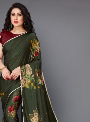 Floral Print Green Contemporary Saree