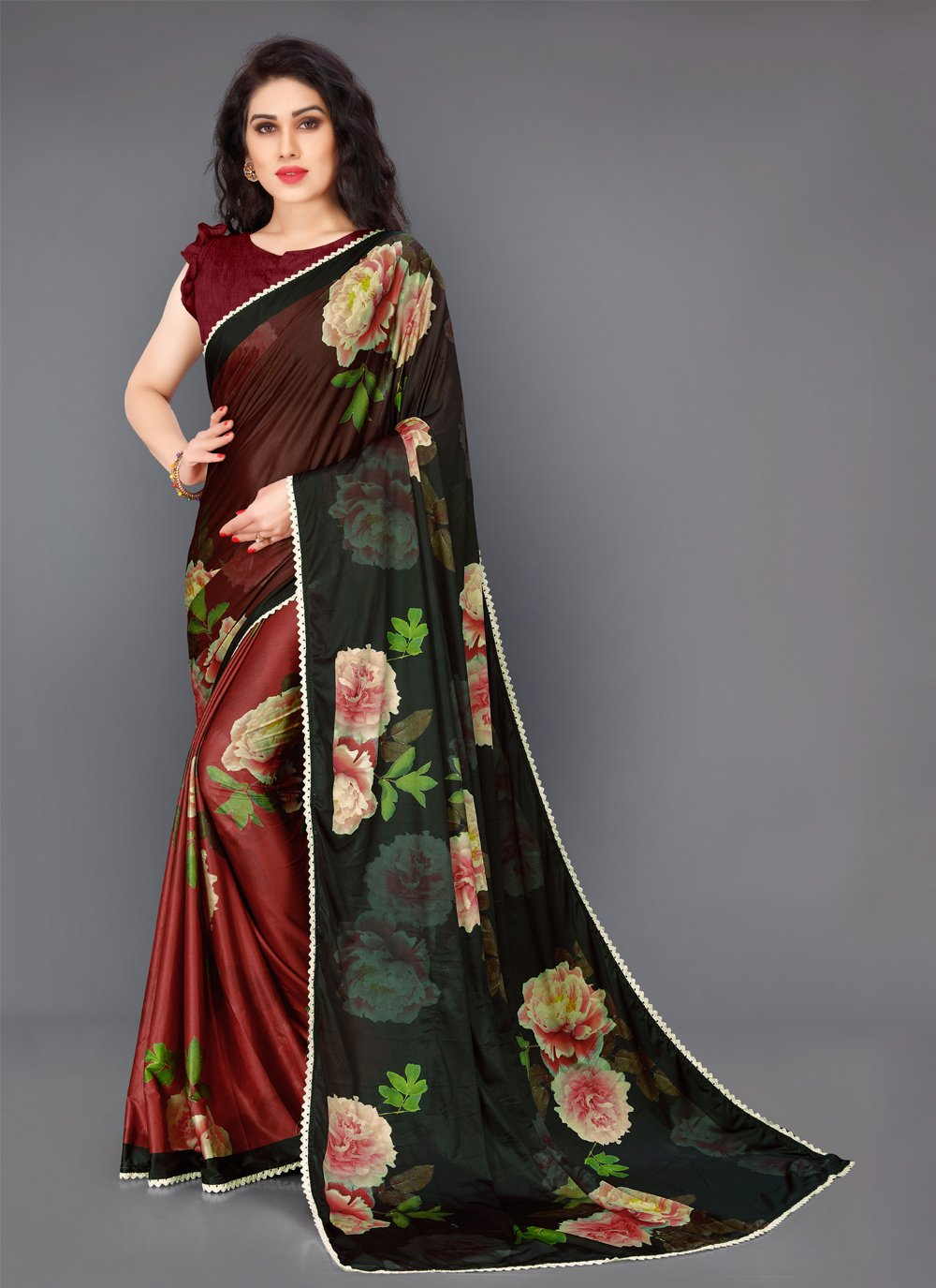 Floral Print Multi Colour Lycra Saree