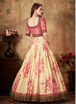 Floral Print Organza Cream Lehenga Choli