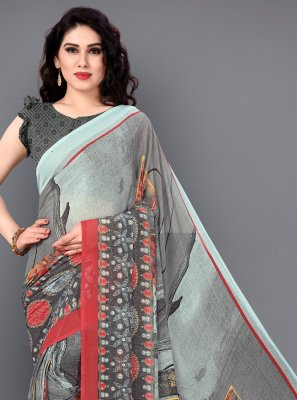 Floral Print Party Casual Saree