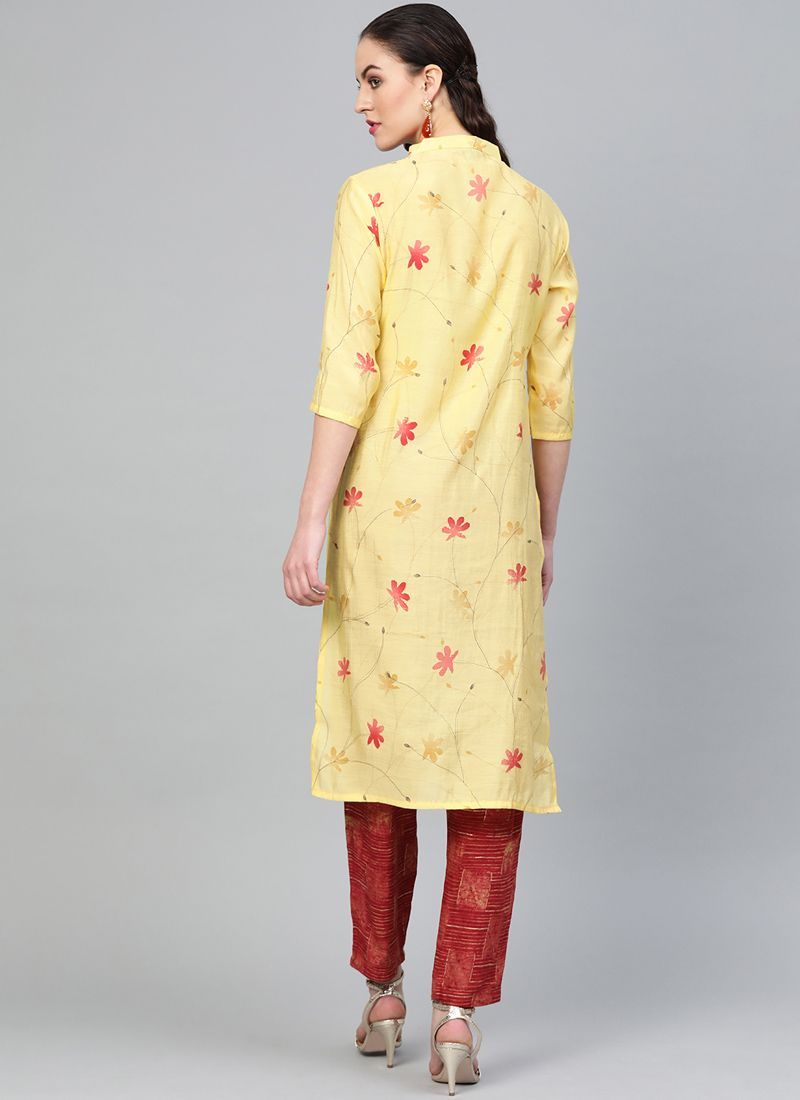 Floral Print Rayon Yellow Party Wear Kurti