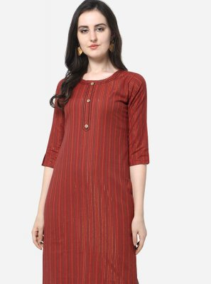 Floral Print Red Party Wear Kurti