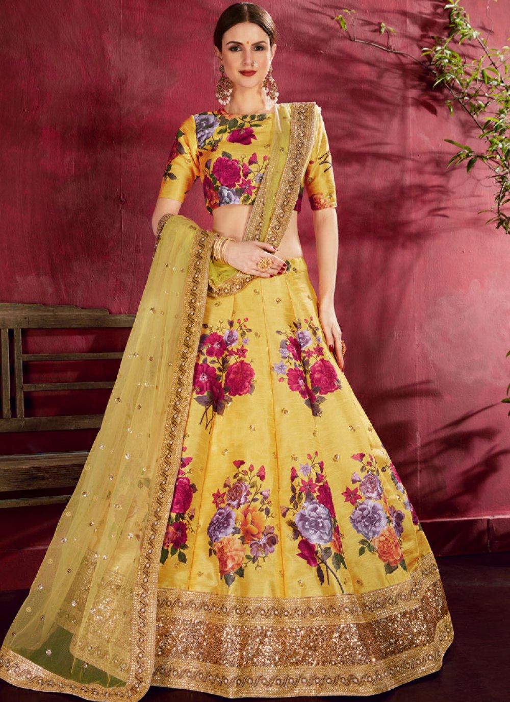 Floral Print Yellow A Line Lehenga Choli