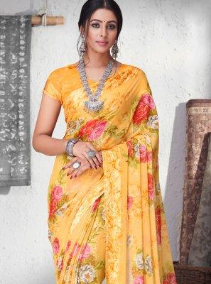 Floral Print Yellow Faux Chiffon Trendy Saree