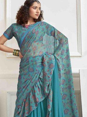 Foil print Aqua Blue Printed Saree