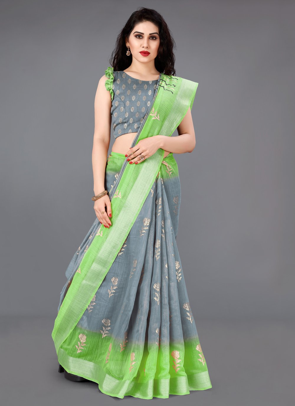 Foil Print Cotton Trendy Saree