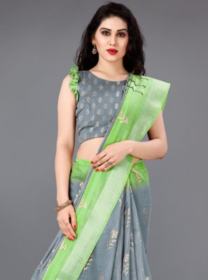 Foil Print Cotton Trendy Saree