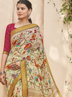 Foil Print Multi Colour Cotton Silk Saree