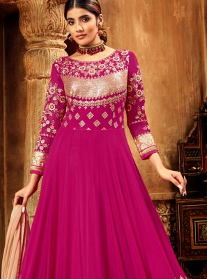 Georgette Anarkali Salwar Suit in Hot Pink