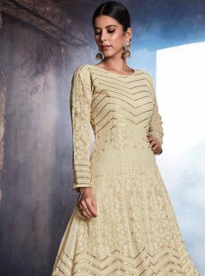Georgette Anarkali Suit in Cream