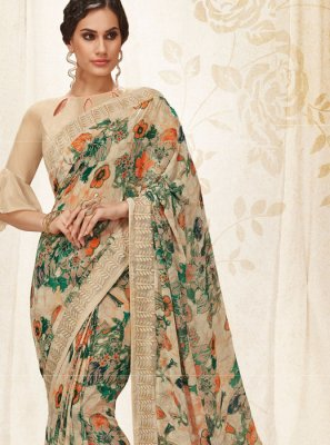Georgette Beige Digital Print Casual Saree