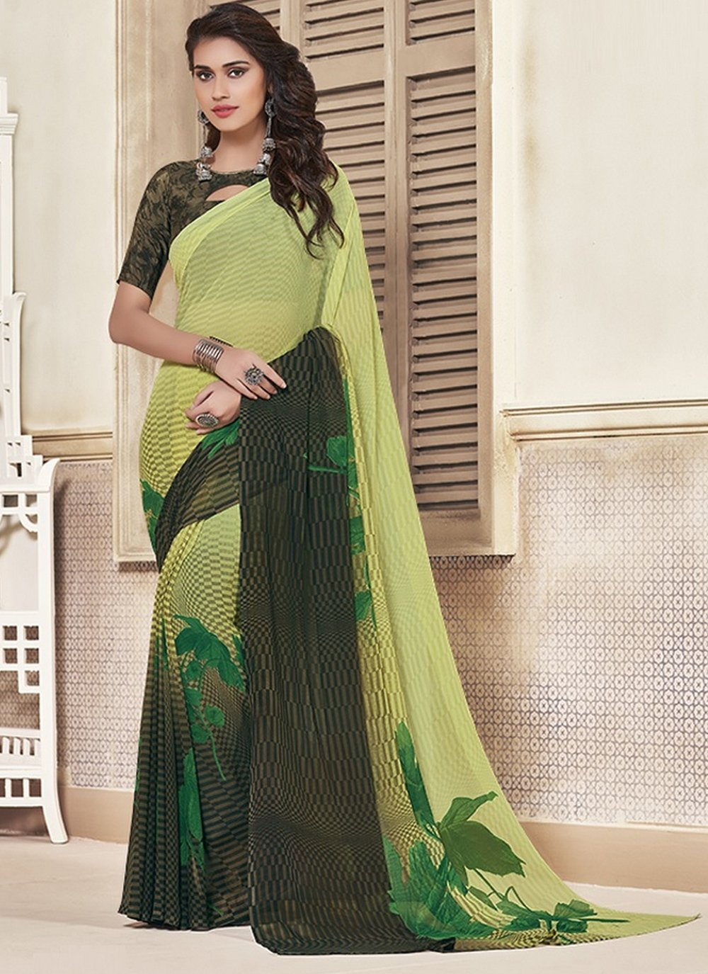 Georgette Black and Green Printed Saree