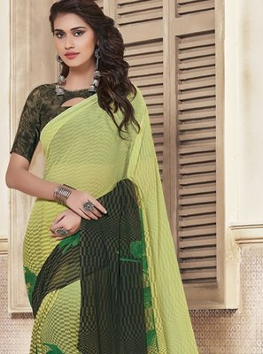 Georgette Black and Green Printed Saree