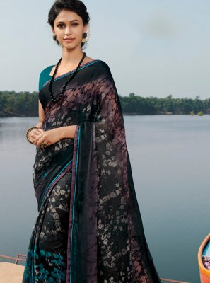 Georgette Black Casual Saree