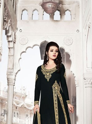 Georgette Black Embroidered Designer Suit